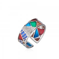 01 Jewelry Enamel Coolection 925 Silver Picasso Ring 01J-2802-R